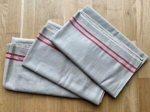 3 Stück Antike Rolltücher Leinentuch Mangeltuch rote Streifen Leinen Tuch