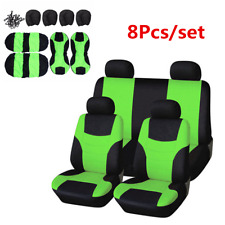 8Pcs Green Cloth Universal Full Set Car Seat Covers For Interior Accessories