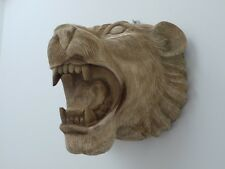 Hand Carved Lion Head Wall Mounted Wooden Art Sculpture Hanging Plaque Figure