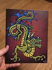 """Deep One"" Original Painting Fantasy Art 8X10 Canvas Panel Lovecraft Dragon"