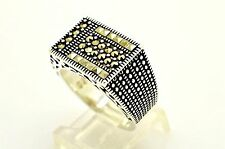 STUNNING MARCASITE 925 STERLING SILVER UNISEX RING SIZE 8.75 TURKISH JEWELRY USA