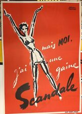 Original Vintage Poster 1950 Reklame Plakat Scandale Korsage Nylonstrumpf Pin Up