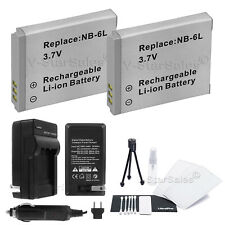 2x NB-6L NB-6LH Battery + Charger for Canon PowerShot SX280 SD980 SX250
