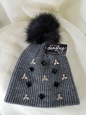 Winter Hat Rhinestone Bling Faux Fur Pom Pom Knit Snow Beanie Ski Hat