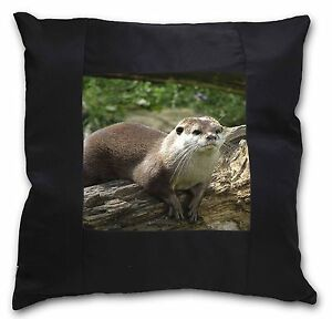 River Otter Black Border Satin Feel Cushion Cover With Pillow Insert, AO-2-CSB