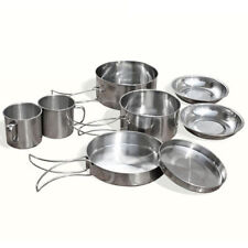 Outdoor Stainless Steel Camping Cookware Cooking Picnic Bowl Pot Pan Set 9 Pcs