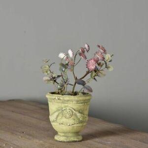 15cm Rustic French Style Urn Vase Planter Weathered Jar Stone Whitewashed