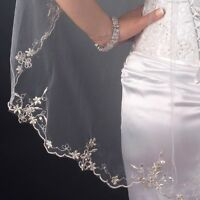 White / Ivory Scalloped Floral Embroidered Edge Bugle Bead Sequin Bridal Veil