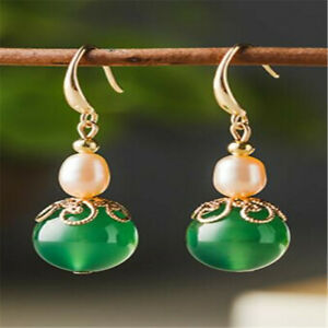Natural Green agate pink Pearl Earrings Dangle Ms gift Ear stud Thanksgiving