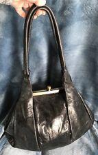 5c66e330ba65 Hobo International Black Leather Kisslock Snap Clam Shoulder Bag VINTAGE