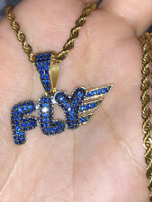 Pendant 14K Yellow Gold Plated 925 Silver Men's 2 Ct Blue Sapphire Fly Only