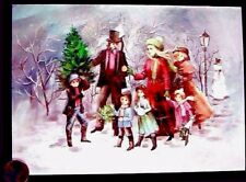 Vintage Charles Dickens Family Snow Picking Tree Snow - Merry Christmas Card New