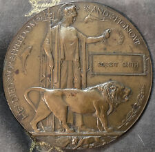 More details for world war i 1914-18 bronze death penny/plaque awarded to robert smith