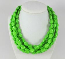Chunky lime green necklace,multi strand statement apple green necklace, be