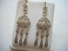 Sterling Silver Lacy Cut Out Dangle Earrings  RE244