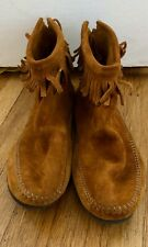 MINNETONKA Back Zip Suede Fringe Brown Ankle Boot SZ. 10