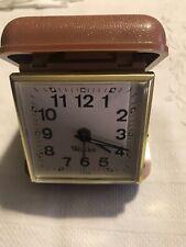 Vintage Westclox Wind Up Travel Alarm Clock In Tan Case.