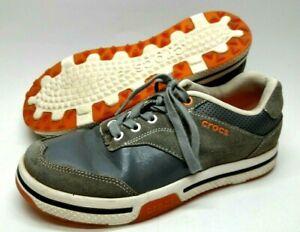 Crocs Golf Mens Shoes Size 7 Gray Orange 15160 Lace Up