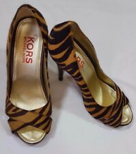 KORS Michael Kors Zebra Print Pumps 7M Brown Black Calf Fur Open Toe Heel Shoes