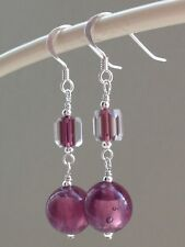 Vintage Dusky Amethyst Silver Foil & Cathedral Glass Sterling Silver Earrings