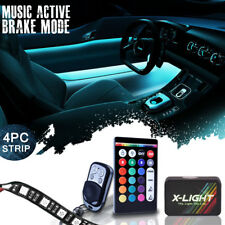 4pc 18 Color Led Interior Light Kit for All Cars w Accent Neon Glow Brake Mode