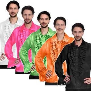 Mens Satin Disco Ruffle Shirt 1970's 70s Fancy Dress Party Costume New