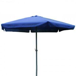 Sonnenschirm Ø 3m blau mit Kurbel & Krempe Gartenschirm Sonnenschutz Marktschirm