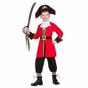 Pirate Captain Ship Fantasy Fairytale Childs Kids Boys Fancy Dress Costume