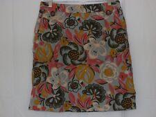 Boden Skirt Women US 8 UK 12 Floral Corduroy Blue Coral Cream Pockets