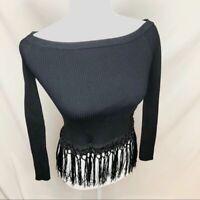 Anthropologie boho tassel long sleeve blouse S