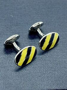 Ralph Lauren Striped Enamel Silver Plated Cufflinks, Yellow/Black
