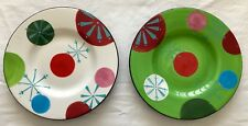 2 Jay Import Christmas Serving Plates X'MAS CHEER Dots & Snowflakes 8""