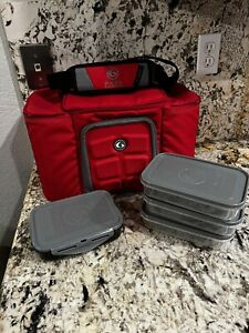 new Six Pack 6 Fitness Bag Innovator Meal Prep Storage Gym Exercise, solid Red