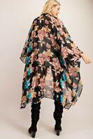 Boho Gypsy Black Floral Print Kimono Cardigan Duster Tunic Top