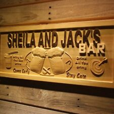 Wpa0264 Name Personalized Bar Come Early Stay Late Engraved Wooden Sign