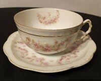Antique Orleans Cup & Saucer Z S & Co Bavaria Pink Roses Gold Flowers Porcelain