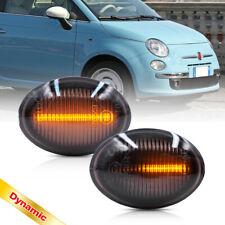 Smoke Dynamic Amber Led Side Marker Light for 07-19 Fiat 500 500e 500c Abarth 2X