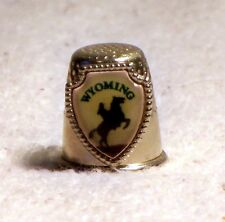 Wyoming State Souvenir Metal Thimble Horse and Rider