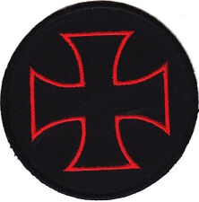 "IRON CROSS-BLACK w/RED(3"")-Iron On Embroidered Applique/Maltese Cross,Biker"