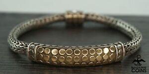 John Hardy 18k Yellow Gold & Sterling Silver Classic Weave Chain Bracelet
