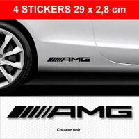 Stickers AMG Noir 4 Autocollants Mercedes Adhésifs Bas de Caisse 29 cm x 2,8 cm