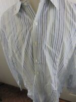 TURNBULL & ASSER Men's 100% Cotton Size 43 17-36 Green Blue Stripe L/S Shirt