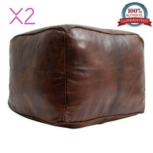Set of 2 Moroccan Leather Pouf Cube Moroccan Pouf Ottoman Square Chocolate Brown