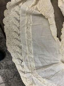 antique lace trim scrap white edging victorian edwardian cotton fine piece scrap