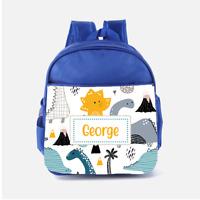 Personalised Dino Dinosaurs Scene Cute Boys Kids Backpack, Childrens School Bag