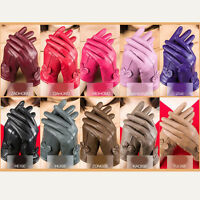 Driving dance Women Winter Warm Genuine Lambskin Leather Soft Lining Gloves Well