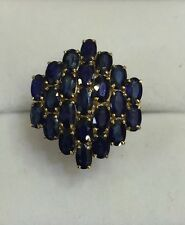 14k Solid Yellow Gold Cluster Ring with Natural Sapphire Oval Cut 9 CT 4.33GM