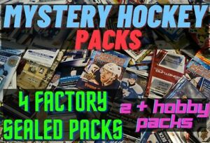 Mystery Hockey cards (4 factory sealed PACKS) Guaranteed 2 or more hobby pack