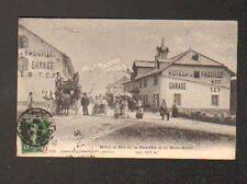 COL DE LA FAUCILLE (01) DILIGENCE à l'HOTEL & AUTOMOBILE au GARAGE animé en 1908