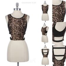 Leopard Print Cropped Top Open Sides And Back Sleeveless Cute Unique Stylish